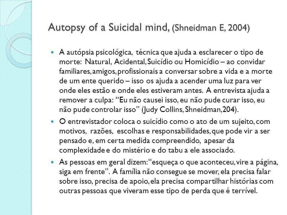 Autópsia psicológica  DEFINIÇÃO: É um tipo de estudo retrospectivo que reconstitui o status da saúde física e mental e as circunstanciais sociais das pessoas que se suicidaram, a partir de entrevistas com familiares e informantes próximos às vítimas.