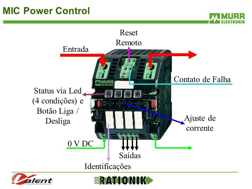 MIC Power Control Entrada 0 V DC Contato de Falha Status via Led (4 condições) e Botão Liga / Desliga Ajuste de corrente Reset Remoto Saídas Identific