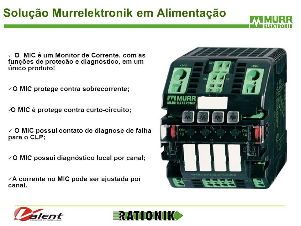 Solução Murrelektronik em Alimentação  O MIC é um Monitor de Corrente, com as funções de proteção e diagnóstico, em um único produto!  O MIC protege