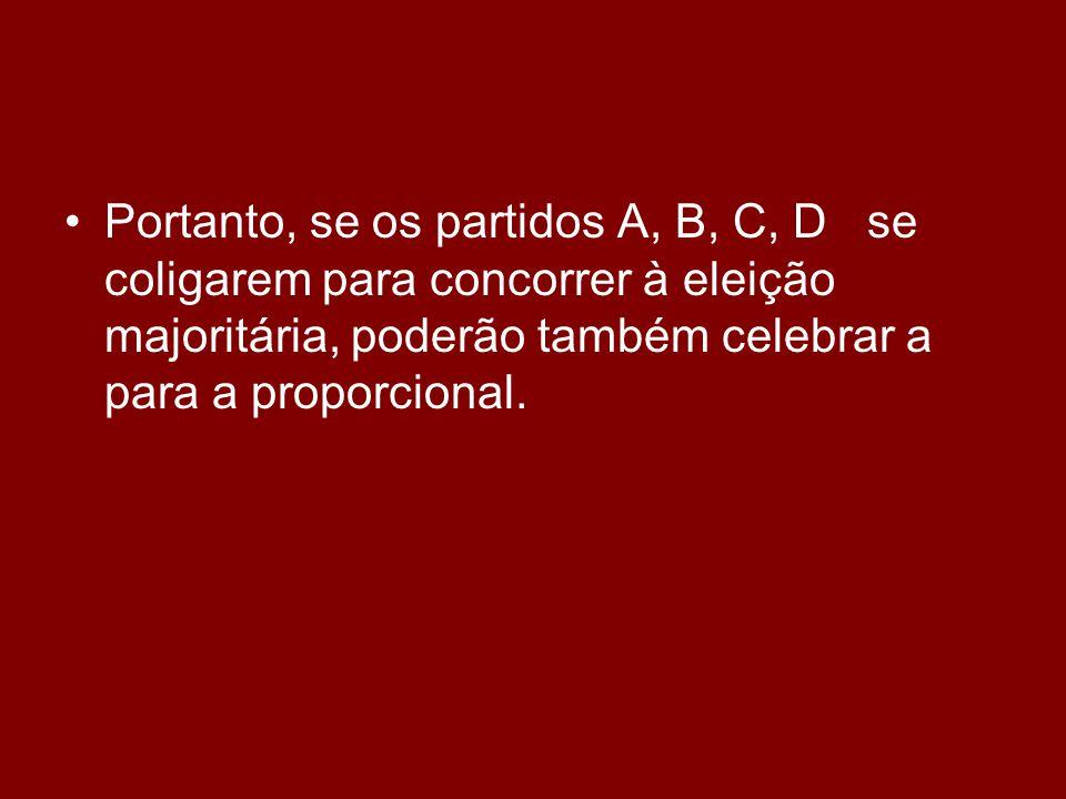 •Portanto, se os partidos A, B, C, D se coligarem para concorrer à eleição majoritária, poderão também celebrar a para a proporcional.