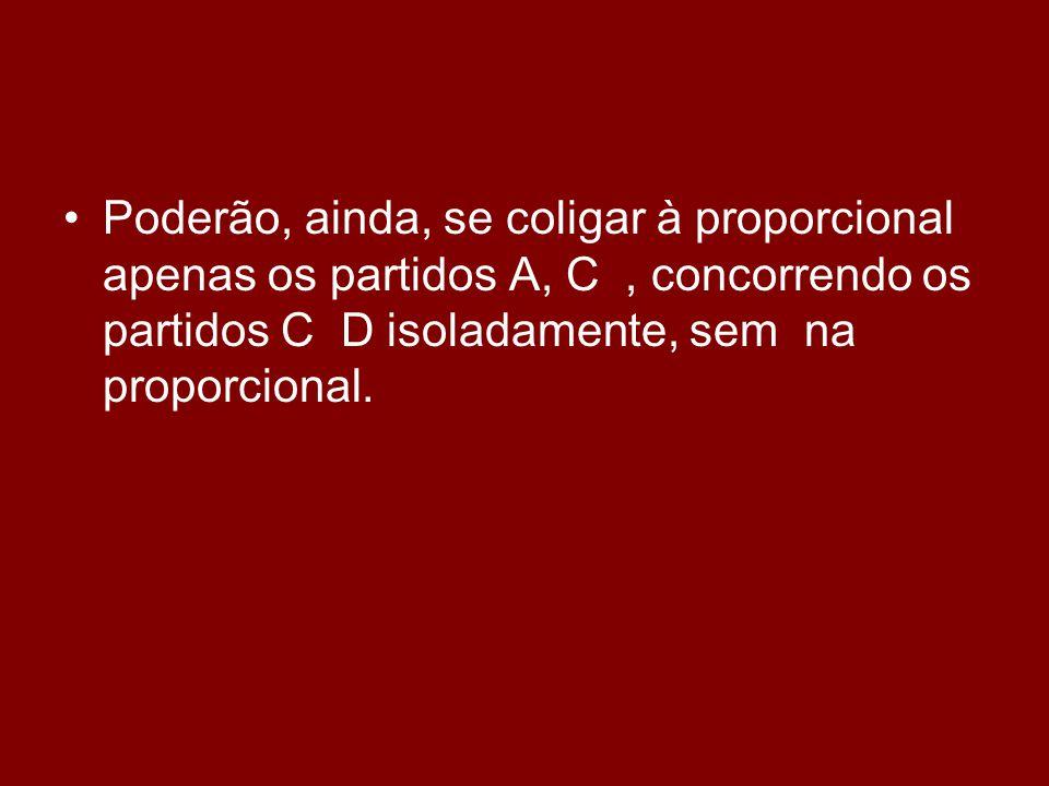 •P•Poderão, ainda, se coligar à proporcional apenas os partidos A, C, concorrendo os partidos C D isoladamente, sem na proporcional.