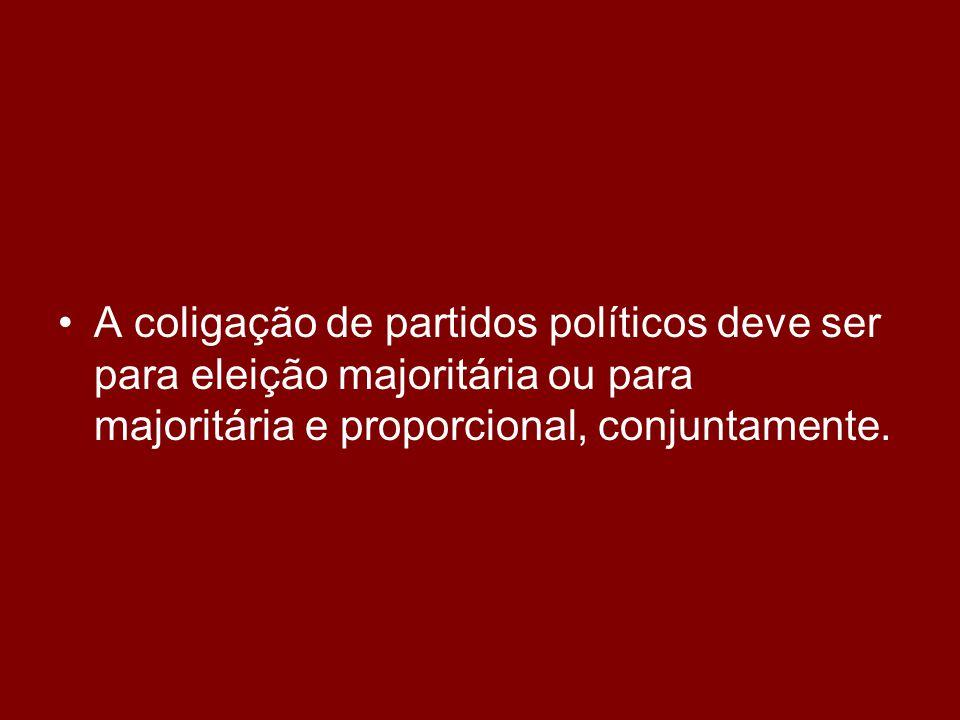 •É proibida a coligação entre partidos políticos para eleição proporcional que não existia ao tempo das eleições majoritárias.