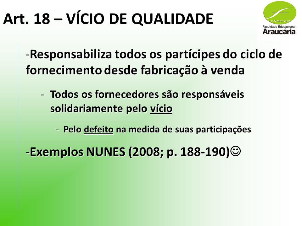 Art. 18 – VÍCIO DE QUALIDADE -Responsabiliza todos os partícipes do ciclo de fornecimento desde fabricação à venda -Todos os fornecedores são responsá