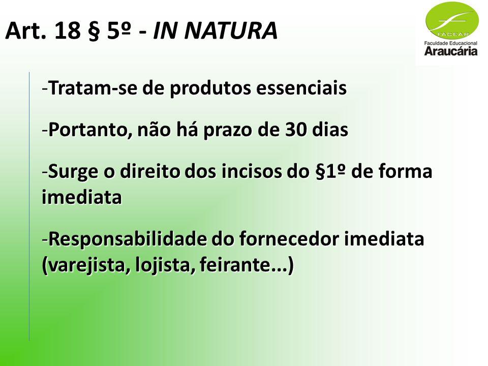 Art. 18 § 5º - IN NATURA -Tratam-se de produtos essenciais -Portanto, não há prazo de 30 dias -Surge o direito dos incisos do §1º de forma imediata -R