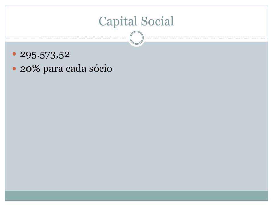 Capital Social  295.573,52  20% para cada sócio