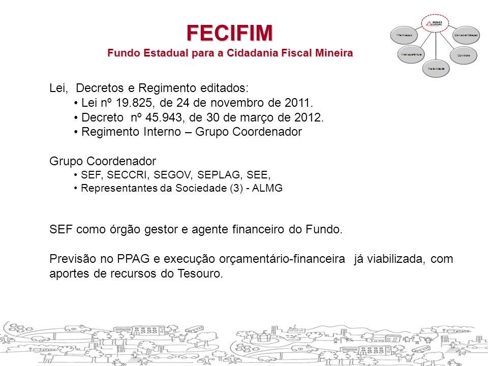 Lei, Decretos e Regimento editados: • Lei nº 19.825, de 24 de novembro de 2011.
