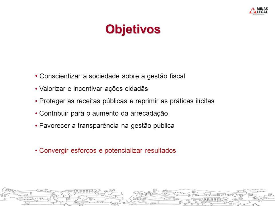 • Conscientizar a sociedade sobre a gestão fiscal • Valorizar e incentivar ações cidadãs • Proteger as receitas públicas e reprimir as práticas ilícit
