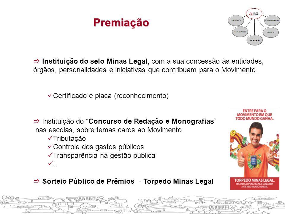  Instituição do selo Minas Legal, com a sua concessão às entidades, órgãos, personalidades e iniciativas que contribuam para o Movimento.  Certifica