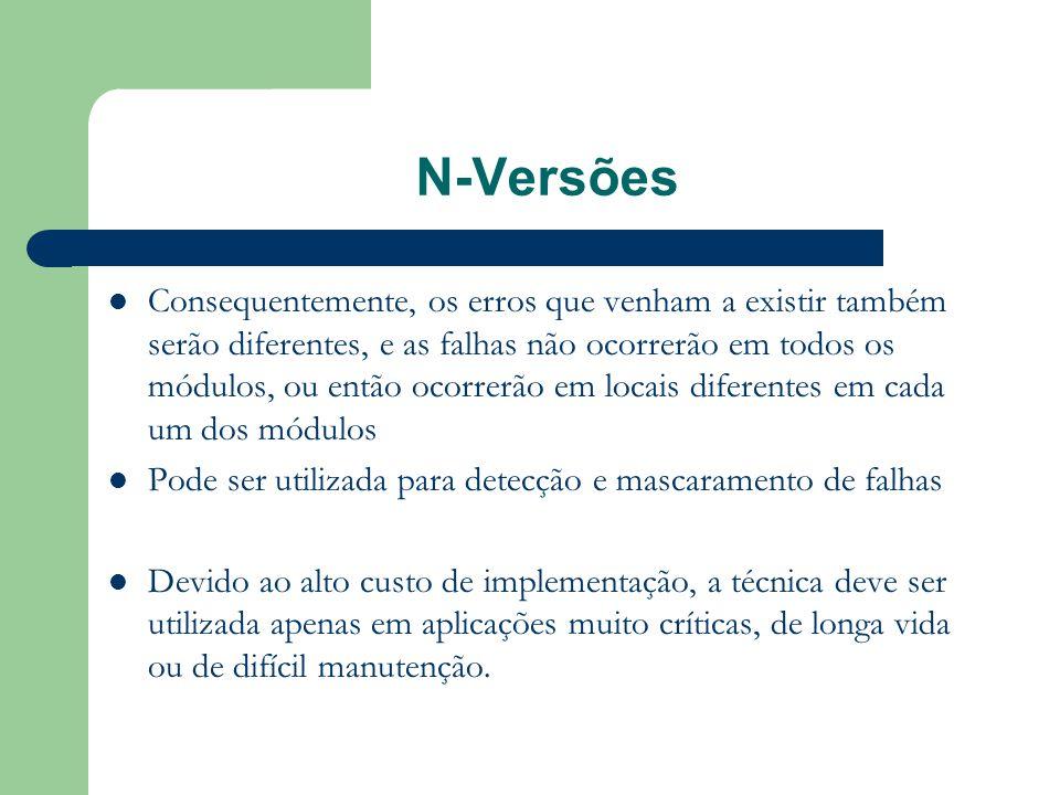 N-Versões  Consequentemente, os erros que venham a existir também serão diferentes, e as falhas não ocorrerão em todos os módulos, ou então ocorrerão