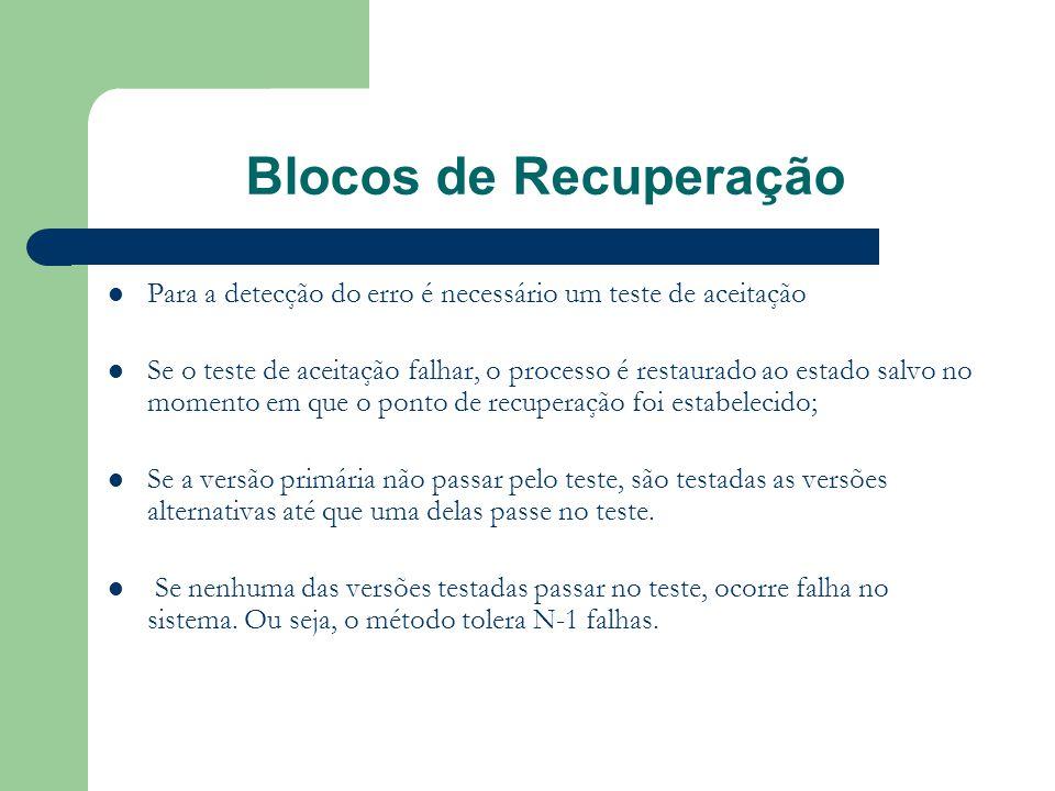 Recuperação por Retorno  Baseia-se na restauração de um processo para um estado anterior livre de falhas  O rollback é usado nos blocos de recuperação como um método na recuperação de erros.