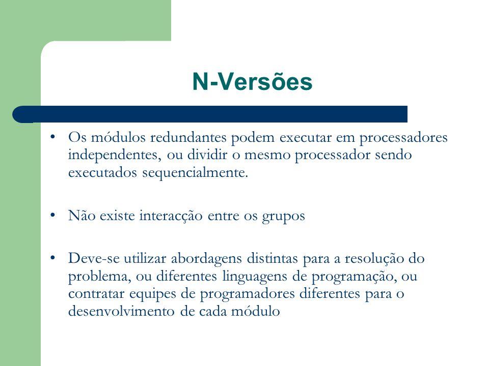 N-Versões •Os módulos redundantes podem executar em processadores independentes, ou dividir o mesmo processador sendo executados sequencialmente. •Não