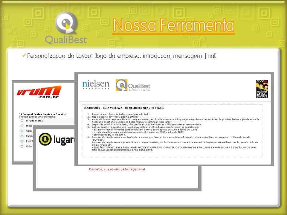  Personalização do Layout (logo da empresa, introdução, mensagem final)