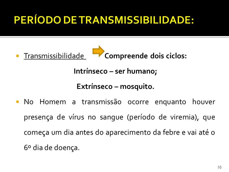  Transmissibilidade Compreende dois ciclos: Intrínseco – ser humano; Extrínseco – mosquito.  No Homem a transmissão ocorre enquanto houver presença