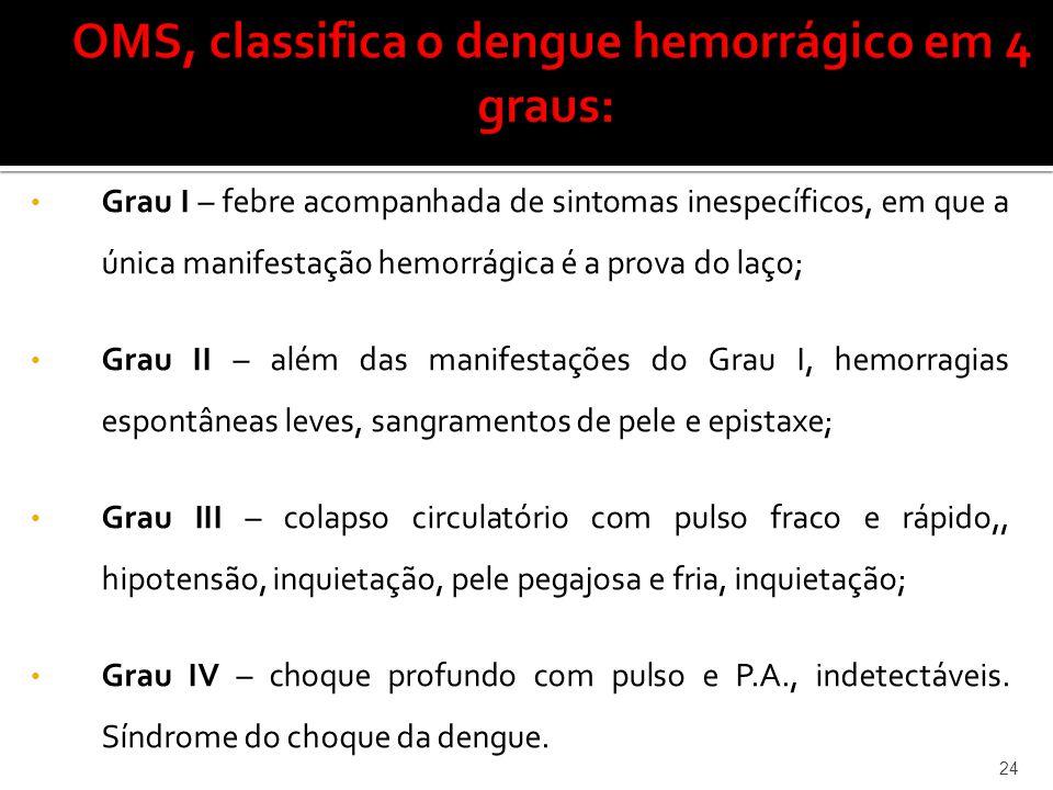 • Grau I – febre acompanhada de sintomas inespecíficos, em que a única manifestação hemorrágica é a prova do laço; • Grau II – além das manifestações