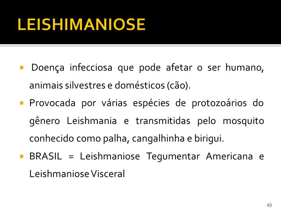  Doença infecciosa que pode afetar o ser humano, animais silvestres e domésticos (cão).  Provocada por várias espécies de protozoários do gênero Lei