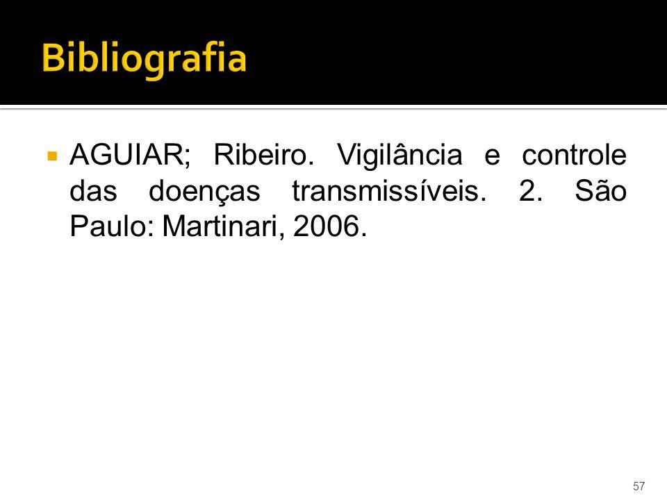  AGUIAR; Ribeiro. Vigilância e controle das doenças transmissíveis. 2. São Paulo: Martinari, 2006. 57