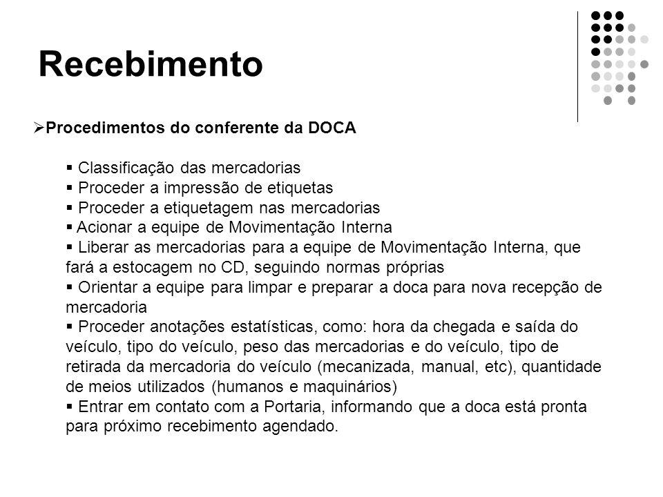 Recebimento  Procedimentos do conferente da DOCA  Classificação das mercadorias  Proceder a impressão de etiquetas  Proceder a etiquetagem nas mer