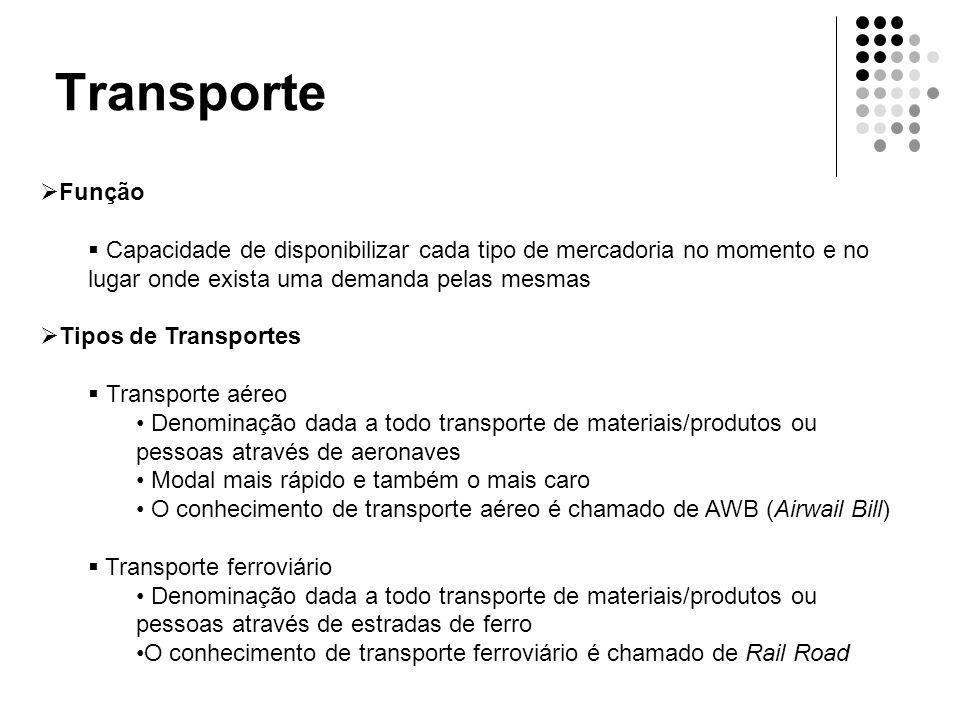 Transporte  Função  Capacidade de disponibilizar cada tipo de mercadoria no momento e no lugar onde exista uma demanda pelas mesmas  Tipos de Trans