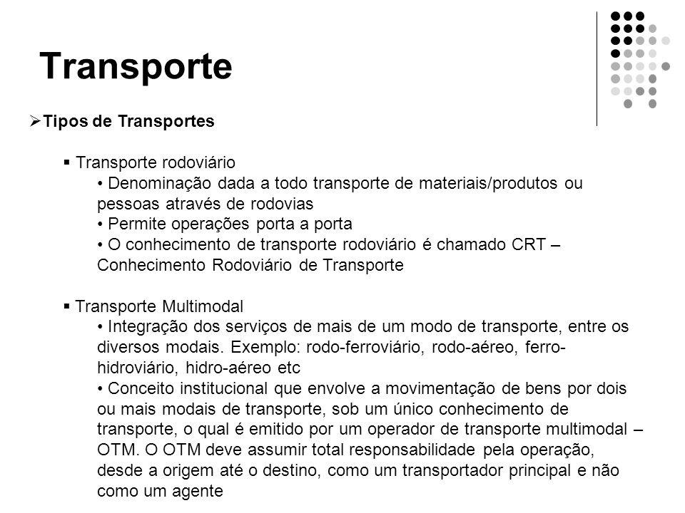 Transporte  Tipos de Transportes  Transporte rodoviário • Denominação dada a todo transporte de materiais/produtos ou pessoas através de rodovias •