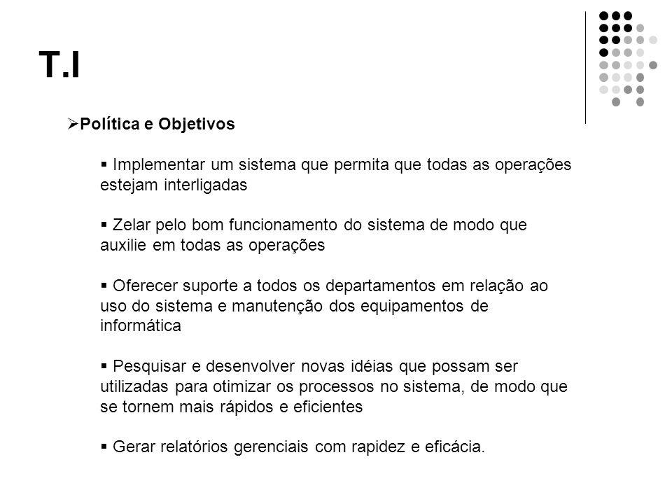 T.I  Política e Objetivos  Implementar um sistema que permita que todas as operações estejam interligadas  Zelar pelo bom funcionamento do sistema