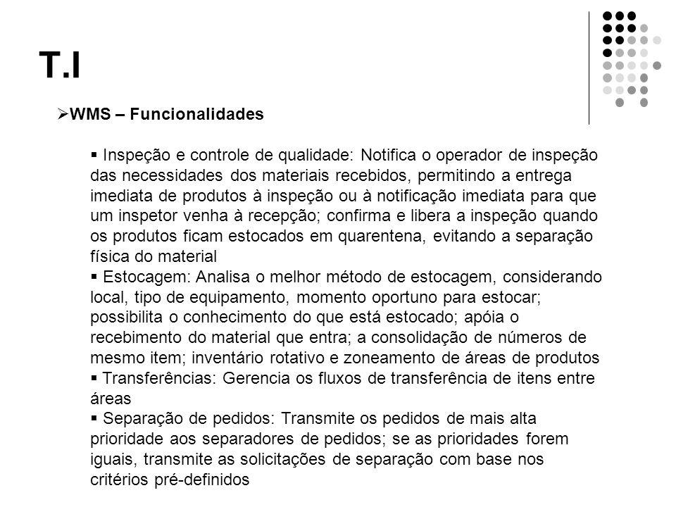 T.I  WMS – Funcionalidades  Inspeção e controle de qualidade: Notifica o operador de inspeção das necessidades dos materiais recebidos, permitindo a
