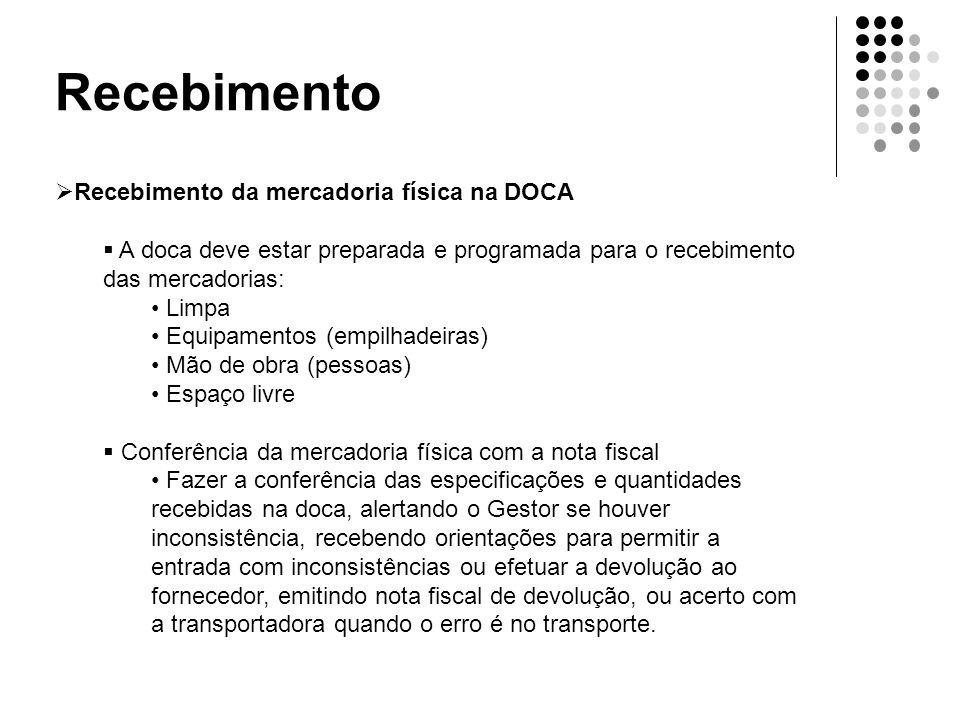 Recebimento  Recebimento da mercadoria física na DOCA  A doca deve estar preparada e programada para o recebimento das mercadorias: • Limpa • Equipa