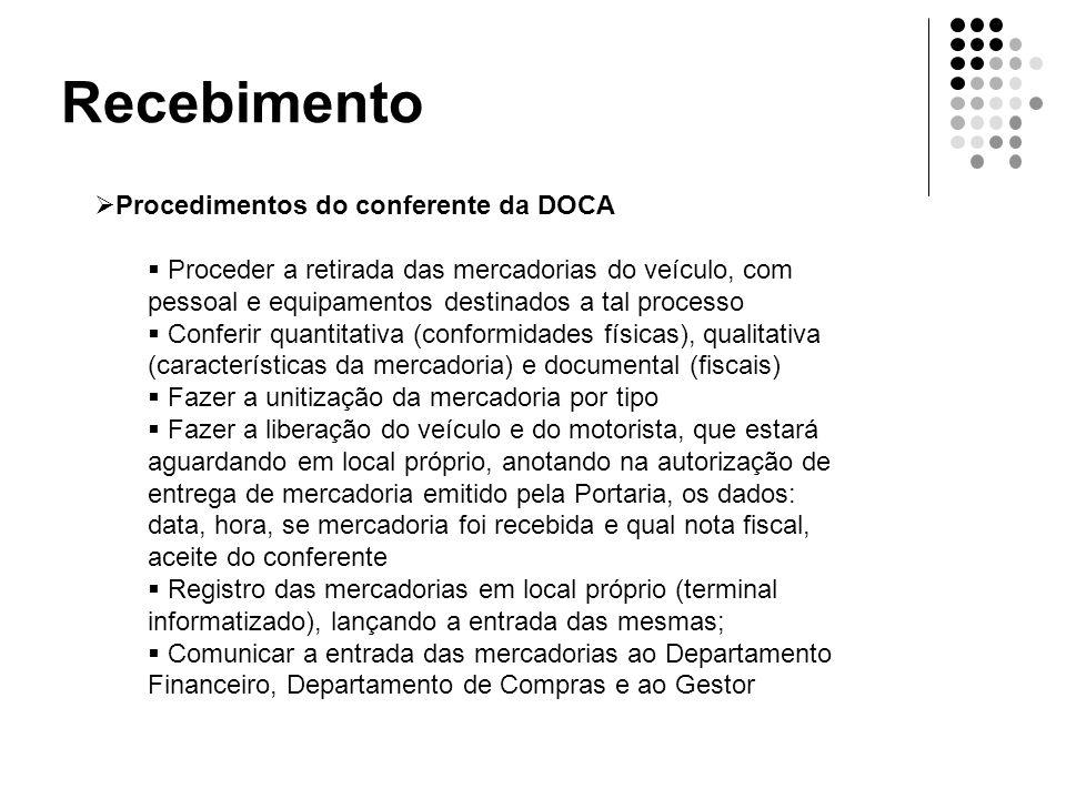 Recebimento  Procedimentos do conferente da DOCA  Proceder a retirada das mercadorias do veículo, com pessoal e equipamentos destinados a tal proces