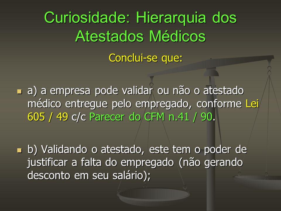 Curiosidade: Hierarquia dos Atestados Médicos Conclui-se que:  a) a empresa pode validar ou não o atestado médico entregue pelo empregado, conforme L