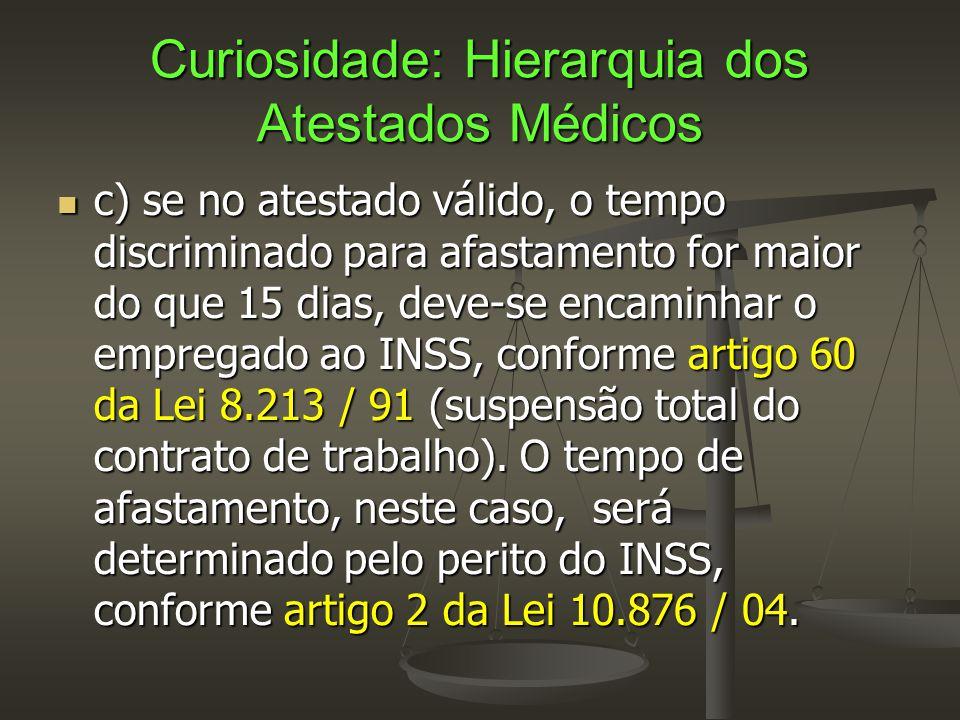 Curiosidade: Hierarquia dos Atestados Médicos  c) se no atestado válido, o tempo discriminado para afastamento for maior do que 15 dias, deve-se enca