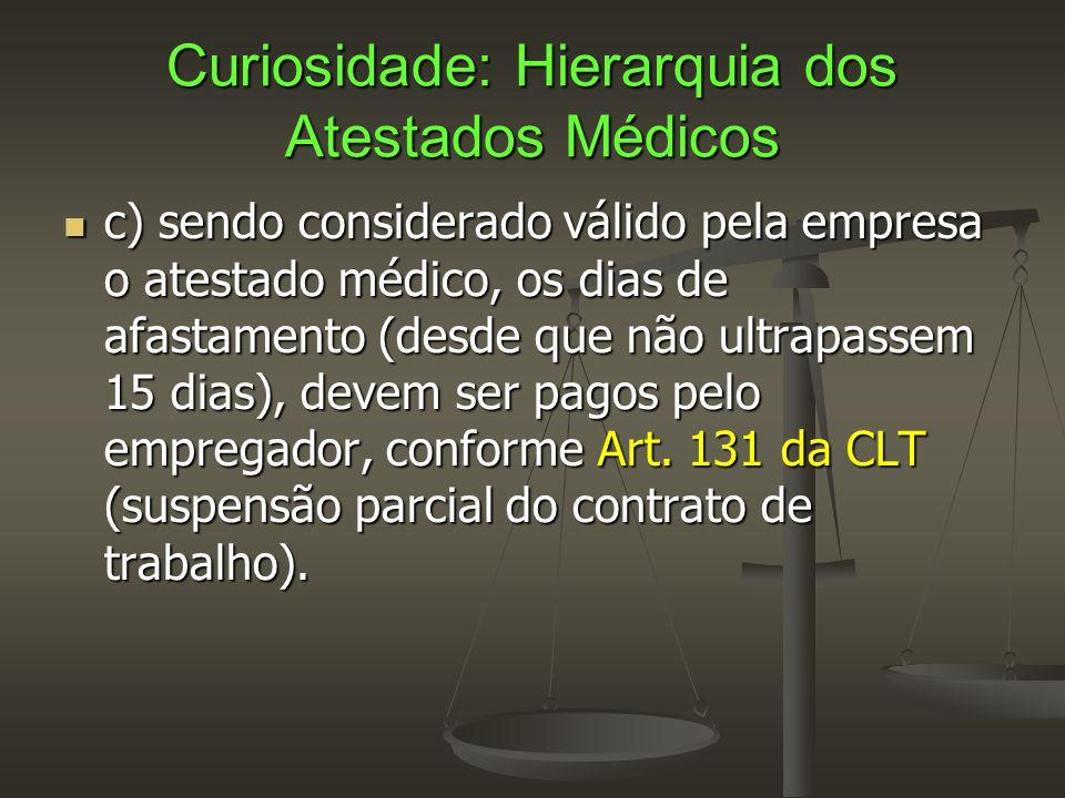Curiosidade: Hierarquia dos Atestados Médicos  c) sendo considerado válido pela empresa o atestado médico, os dias de afastamento (desde que não ultr