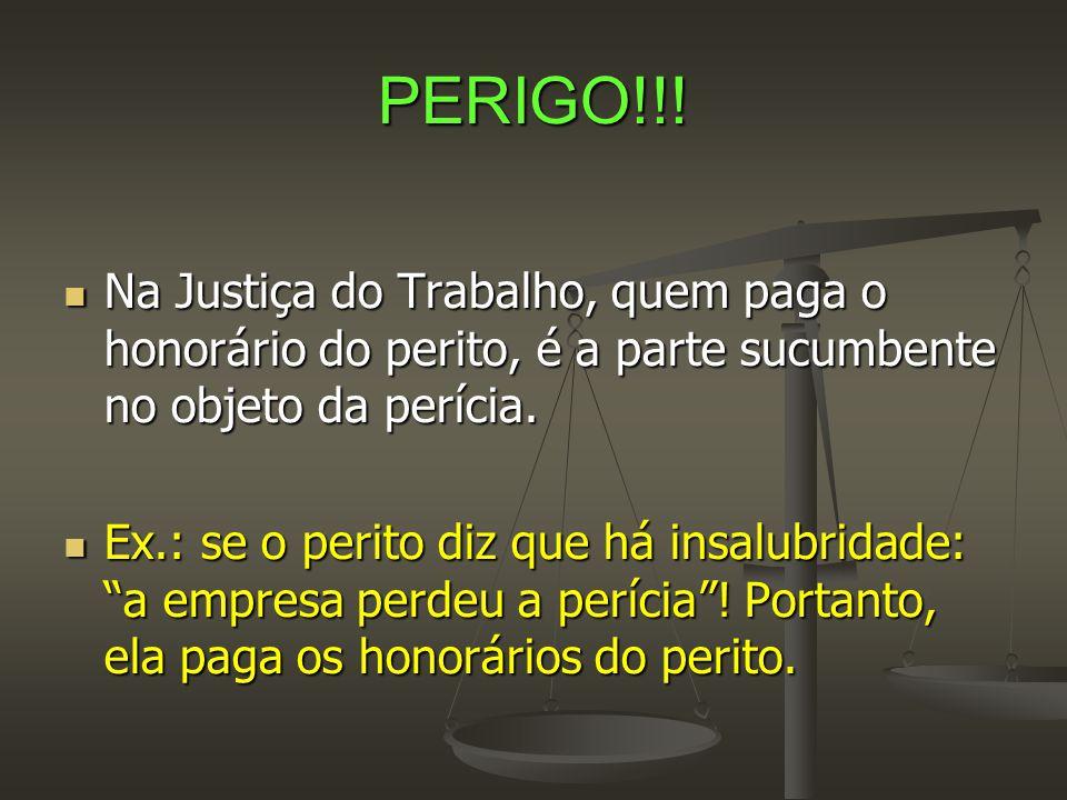 PERIGO!!!  Na Justiça do Trabalho, quem paga o honorário do perito, é a parte sucumbente no objeto da perícia.  Ex.: se o perito diz que há insalubr