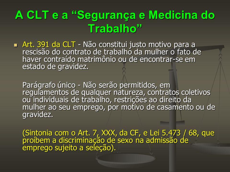 """A CLT e a """"Segurança e Medicina do Trabalho""""  Art. 391 da CLT - Não constitui justo motivo para a rescisão do contrato de trabalho da mulher o fato d"""
