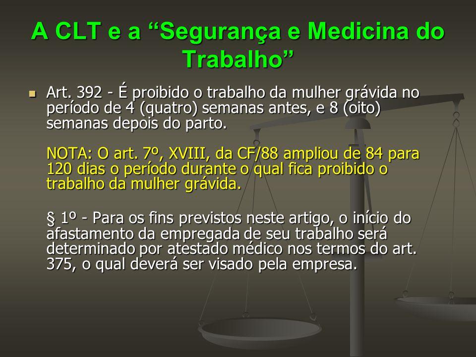 """A CLT e a """"Segurança e Medicina do Trabalho""""  Art. 392 - É proibido o trabalho da mulher grávida no período de 4 (quatro) semanas antes, e 8 (oito) s"""