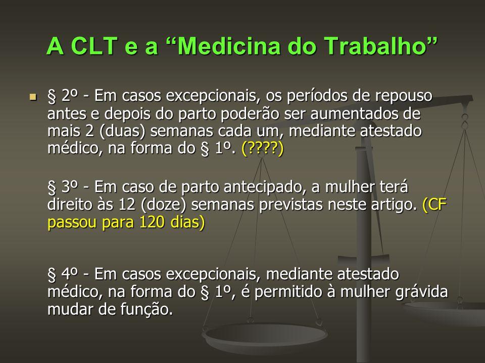 """A CLT e a """"Medicina do Trabalho""""  § 2º - Em casos excepcionais, os períodos de repouso antes e depois do parto poderão ser aumentados de mais 2 (duas"""