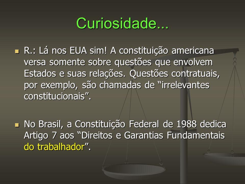 Curiosidade...  R.: Lá nos EUA sim! A constituição americana versa somente sobre questões que envolvem Estados e suas relações. Questões contratuais,
