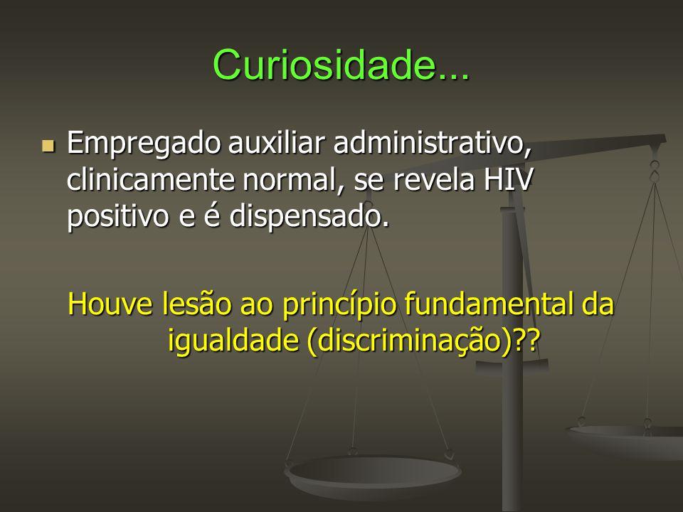 Curiosidade...  Empregado auxiliar administrativo, clinicamente normal, se revela HIV positivo e é dispensado. Houve lesão ao princípio fundamental d