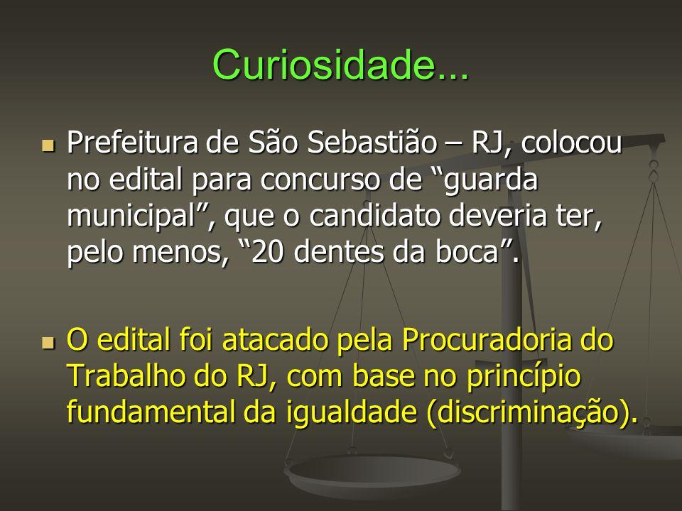 """Curiosidade...  Prefeitura de São Sebastião – RJ, colocou no edital para concurso de """"guarda municipal"""", que o candidato deveria ter, pelo menos, """"20"""