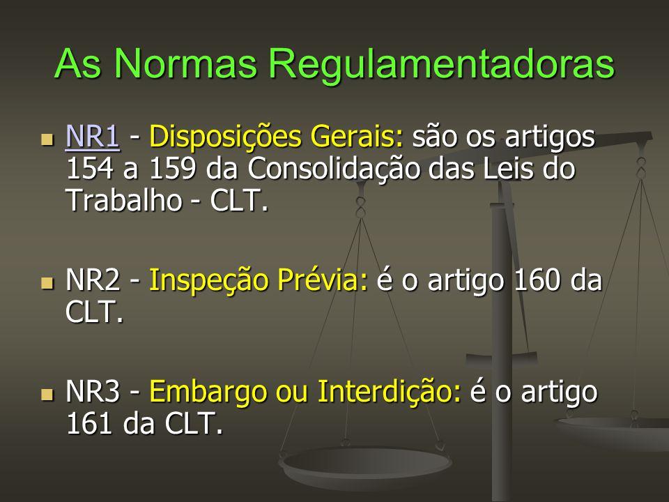 As Normas Regulamentadoras  NR1 - Disposições Gerais: são os artigos 154 a 159 da Consolidação das Leis do Trabalho - CLT. NR1  NR2 - Inspeção Prévi