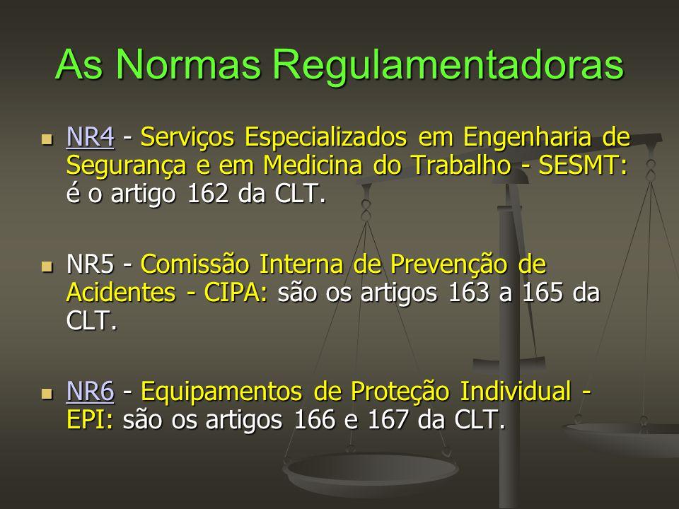 As Normas Regulamentadoras  NR4 - Serviços Especializados em Engenharia de Segurança e em Medicina do Trabalho - SESMT: é o artigo 162 da CLT. NR4 