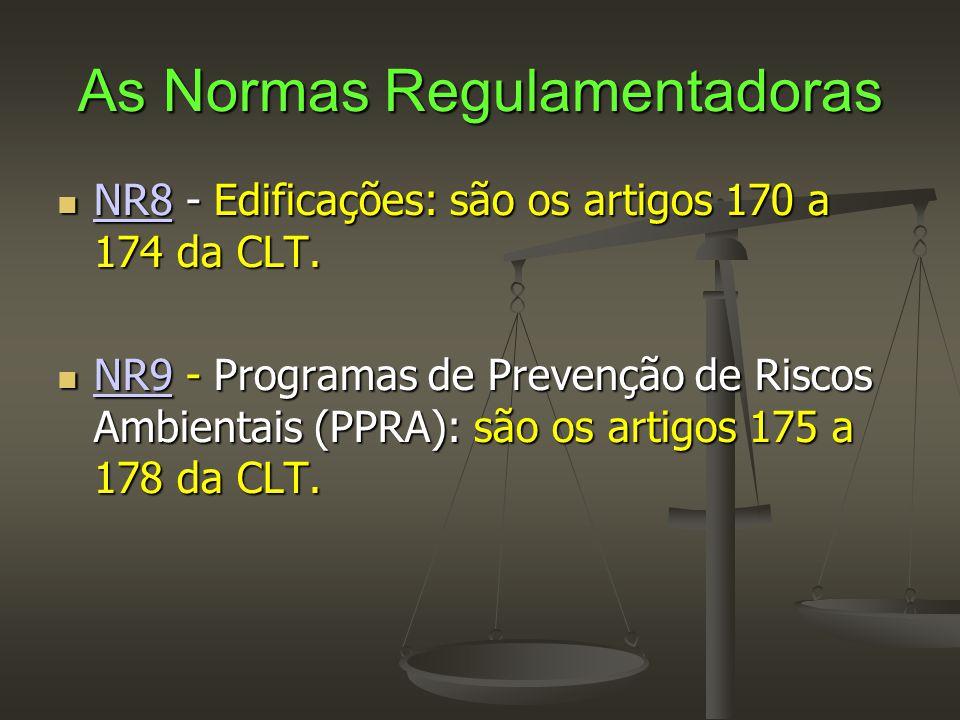 As Normas Regulamentadoras  NR8 - Edificações: são os artigos 170 a 174 da CLT. NR8  NR9 - Programas de Prevenção de Riscos Ambientais (PPRA): são o
