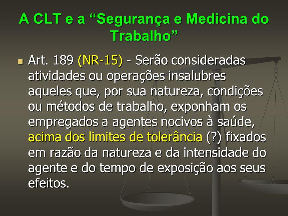 """A CLT e a """"Segurança e Medicina do Trabalho""""  Art. 189 (NR-15) - Serão consideradas atividades ou operações insalubres aqueles que, por sua natureza,"""
