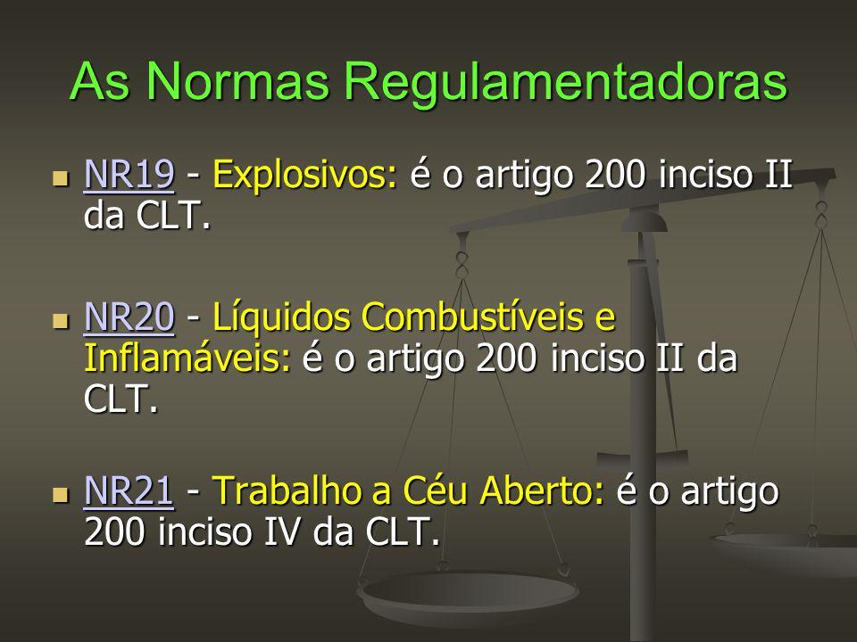 As Normas Regulamentadoras  NR19 - Explosivos: é o artigo 200 inciso II da CLT. NR19  NR20 - Líquidos Combustíveis e Inflamáveis: é o artigo 200 inc