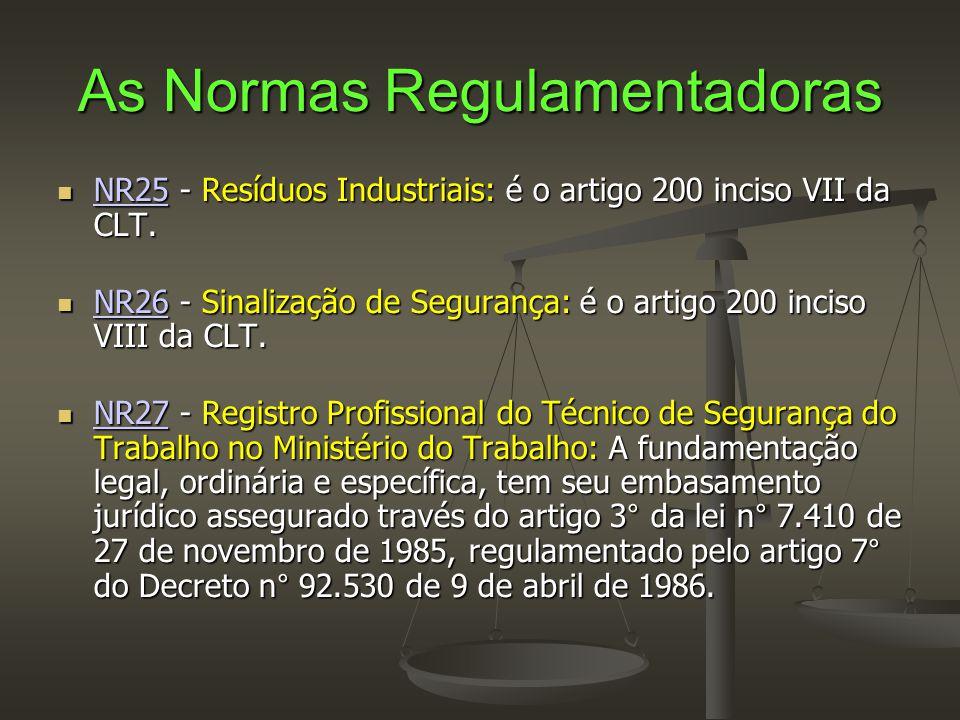 As Normas Regulamentadoras  NR25 - Resíduos Industriais: é o artigo 200 inciso VII da CLT. NR25  NR26 - Sinalização de Segurança: é o artigo 200 inc
