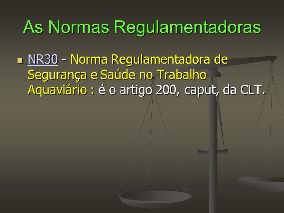 As Normas Regulamentadoras  NR30 - Norma Regulamentadora de Segurança e Saúde no Trabalho Aquaviário : é o artigo 200, caput, da CLT. NR30