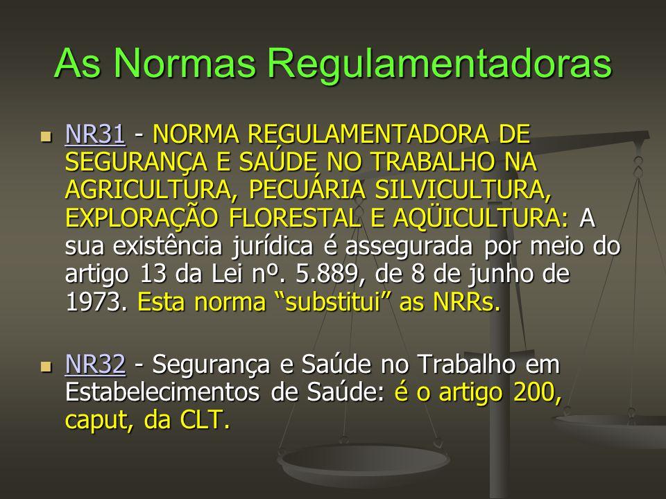 As Normas Regulamentadoras  NR31 - NORMA REGULAMENTADORA DE SEGURANÇA E SAÚDE NO TRABALHO NA AGRICULTURA, PECUÁRIA SILVICULTURA, EXPLORAÇÃO FLORESTAL