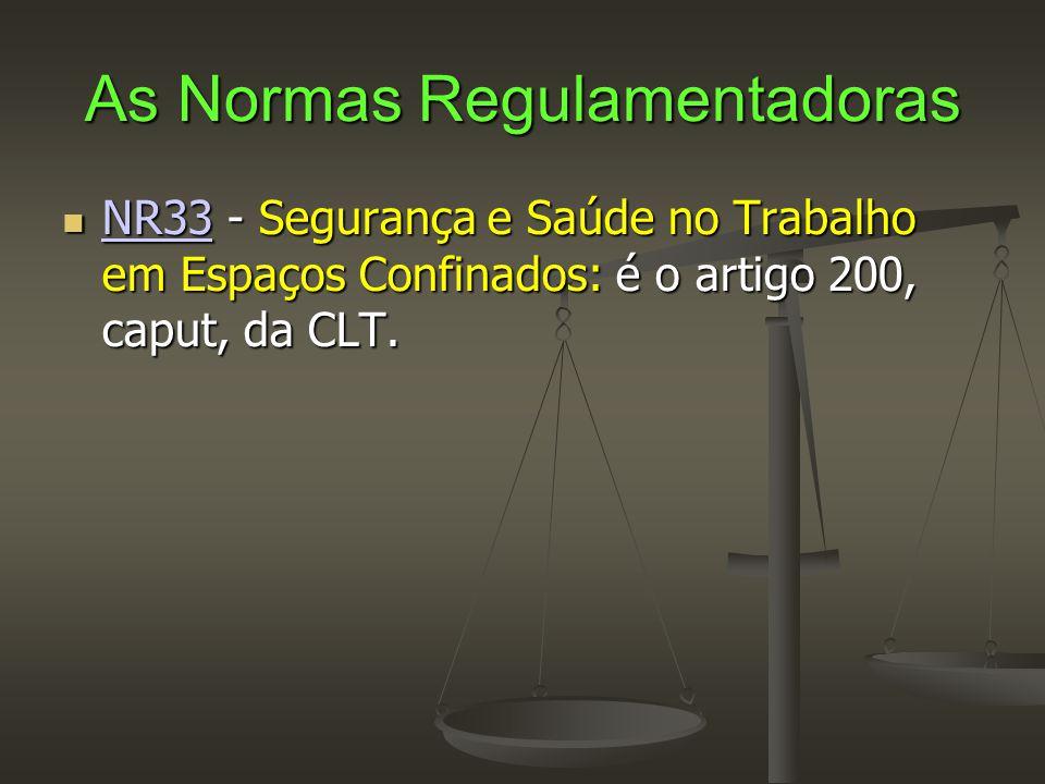 As Normas Regulamentadoras  NR33 - Segurança e Saúde no Trabalho em Espaços Confinados: é o artigo 200, caput, da CLT. NR33