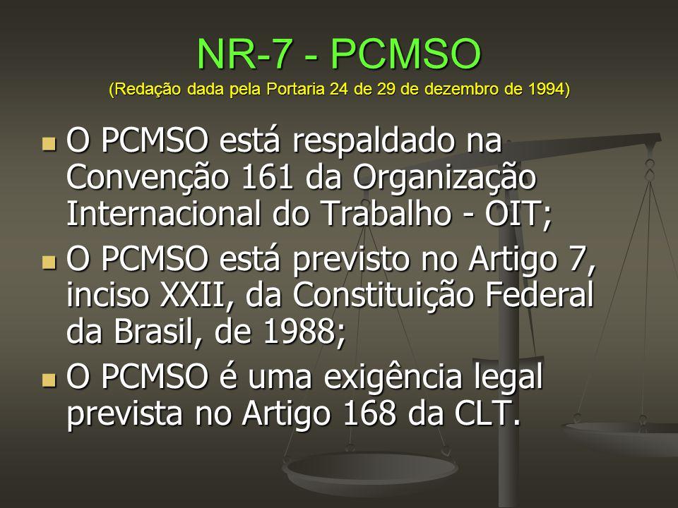 NR-7 - PCMSO (Redação dada pela Portaria 24 de 29 de dezembro de 1994)  O PCMSO está respaldado na Convenção 161 da Organização Internacional do Trab