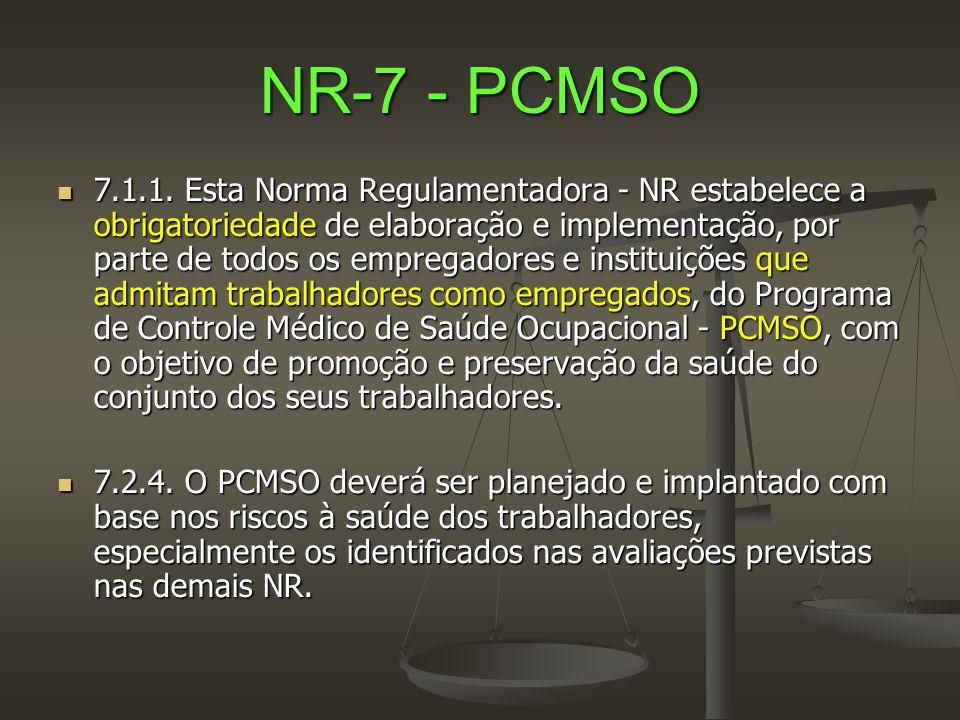 NR-7 - PCMSO  7.1.1. Esta Norma Regulamentadora - NR estabelece a obrigatoriedade de elaboração e implementação, por parte de todos os empregadores e