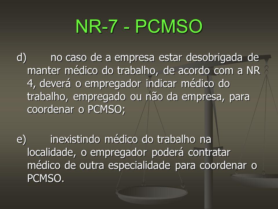 NR-7 - PCMSO d) no caso de a empresa estar desobrigada de manter médico do trabalho, de acordo com a NR 4, deverá o empregador indicar médico do traba