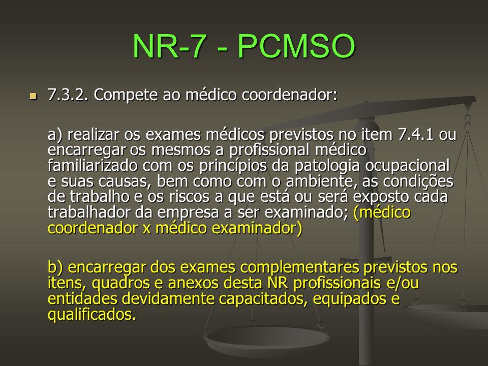 NR-7 - PCMSO  7.3.2. Compete ao médico coordenador: a) realizar os exames médicos previstos no item 7.4.1 ou encarregar os mesmos a profissional médi